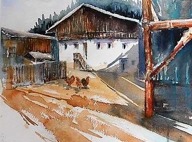 Bauernhaus, Aquarell, 30x40 cm