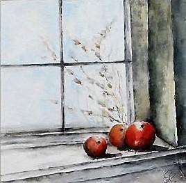 Rote Äpfel, Aquarell, 30x30 cm