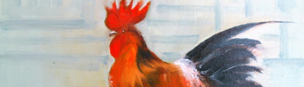 Hahn Ölbild 23 x 30 cm